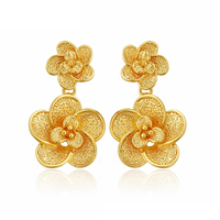 96220 xuping hot new production fashion flower drop style 24k gold plated dangle earring