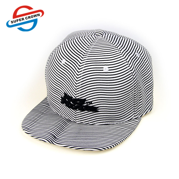 High Quality custom  6 Panel Zebra Stripes Embroidered fitted sport hat Flex fit Snapback Cap