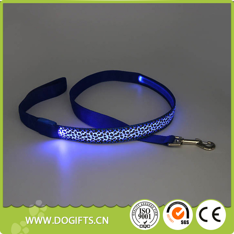Leopard printing New arrival Wholesale Dog Leash Lead/ Pet Collar Flashing LED Lighted Dog Lead, Dog Harness/Pet Leashes