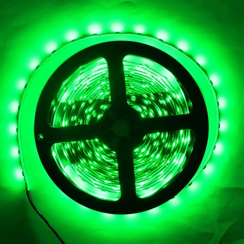 SuperonlineMall LED Strip Lights, trade; 12V DC 16.4ft/5m No-Waterproof LED Flexible Light Strip, 300 LEDs, 3528 SMD, Lighting Strips, LED Tape (Green)