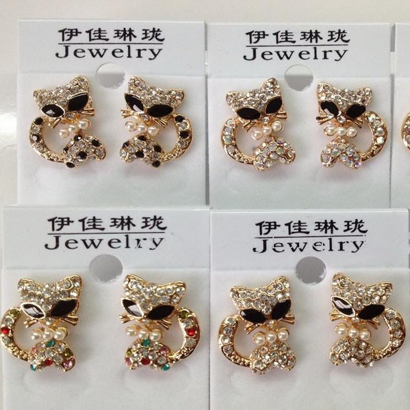new women high quality custom fashion beautiful gold plated crystal cat kitty earring