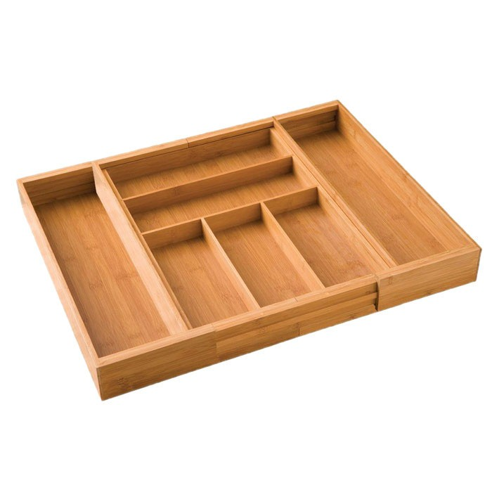 Expandable Bamboo Silverware Drawer Organizer With Lid 5