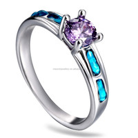 2015 Spring luxury silver tone alloy inlay zirconium wedding ring