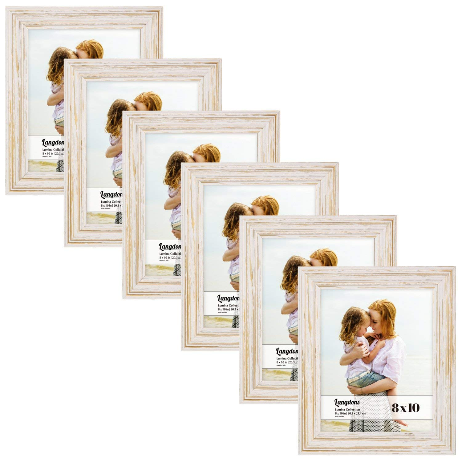 Langdons 8x10 Picture Frame Set (6-Pack, Weathered White) Solid Wood Photo Frames 8x10, Wall Hanging or Table Top, Display White Picture Frame 8x10 Vertically or 10x8 Horizontally, Lumina Series