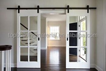 OEM Interior White Wooden Door French Mirrored Barn Door