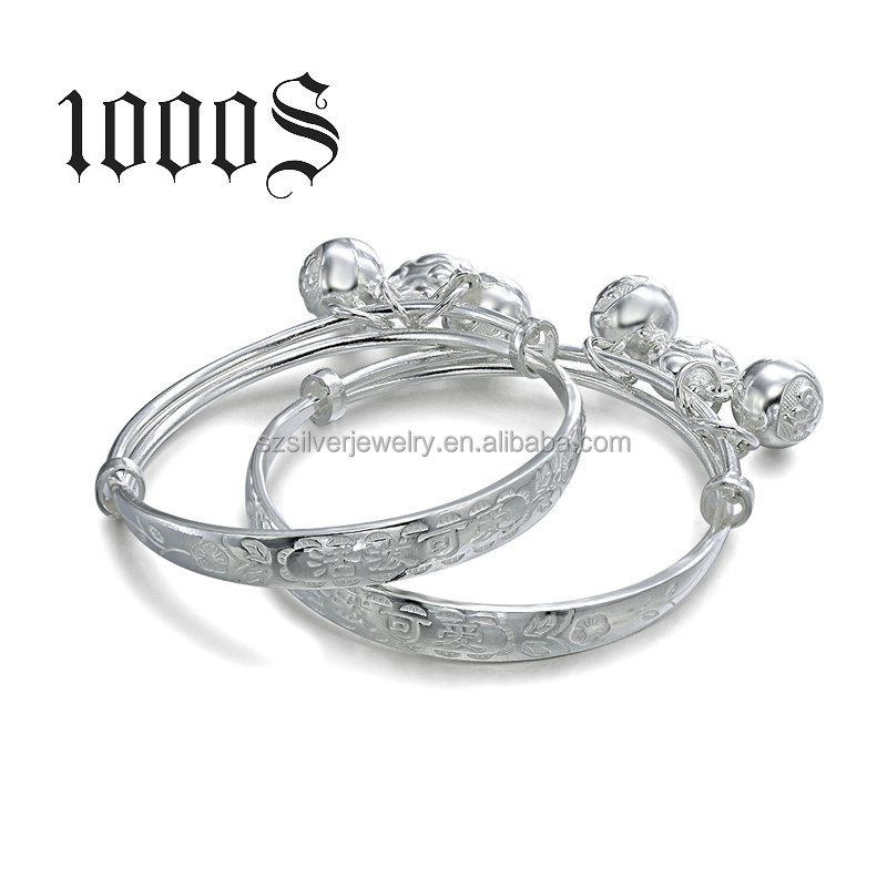 990 Sterling Silver Wholesale Expandable Bangle , Couple bangles designs for Kids