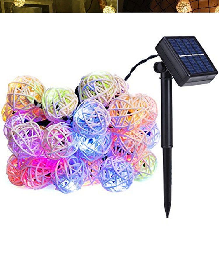 Rattan String Lights, Solar Fairy Ball String Lights with Waterproof Solar Panel for Outdoor Garden Yard Patio Christmas Party