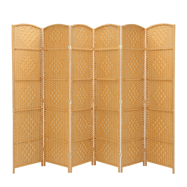 RHF 6 ft. Tall-Extra Wide-Diamond Weave Fiber Room Divider - Light Beige - 4 Panel