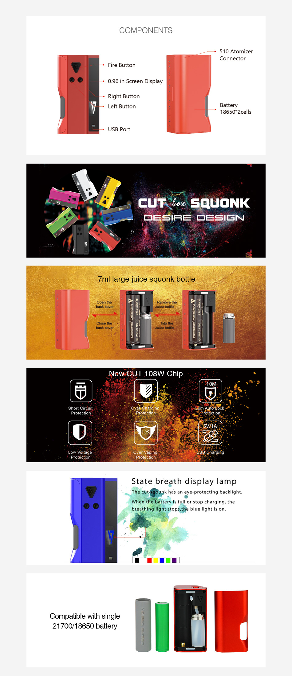 Free Sample Desire Design Cut Squonk Zinc Alloy 5~108W 1x18650/21700 7ml Authentic Desire Cut TC VW Variable Watt Squonk Box Mod