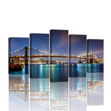 5 Panelen Poster <span class=keywords><strong>Brooklyn</strong></span> Bridge Muur Papier Nieuwe York Night View LED licht Giclee Canvas Prints Landschap 'S voor Home Decor