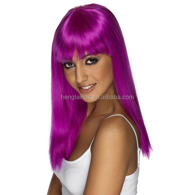 Wholesale large african americans purple color straight synthetic wig