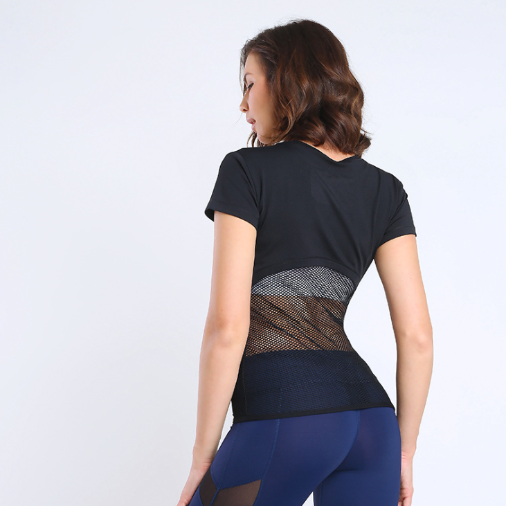custom made yoga wear Top eco-friendly Fitness elasticity Sexy Ladies Mesh hollowed-out Short Sleeve T-shirt