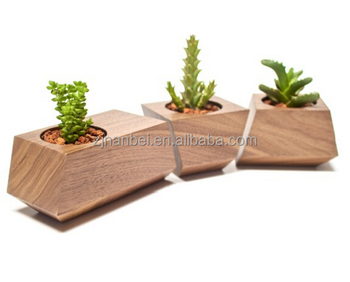Custom Modern Decorative Wooden Planter Box Small Wood Succulent Pots