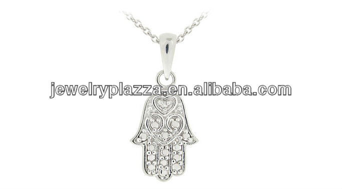 Wholesale 925 Sterling Silver Jewerly,Fashion Accent Hamsa Hand Necklace(M-1770)
