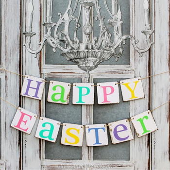 UMISS Classic Happy Easter Letter Banner Rustic Party Hanging Decorations