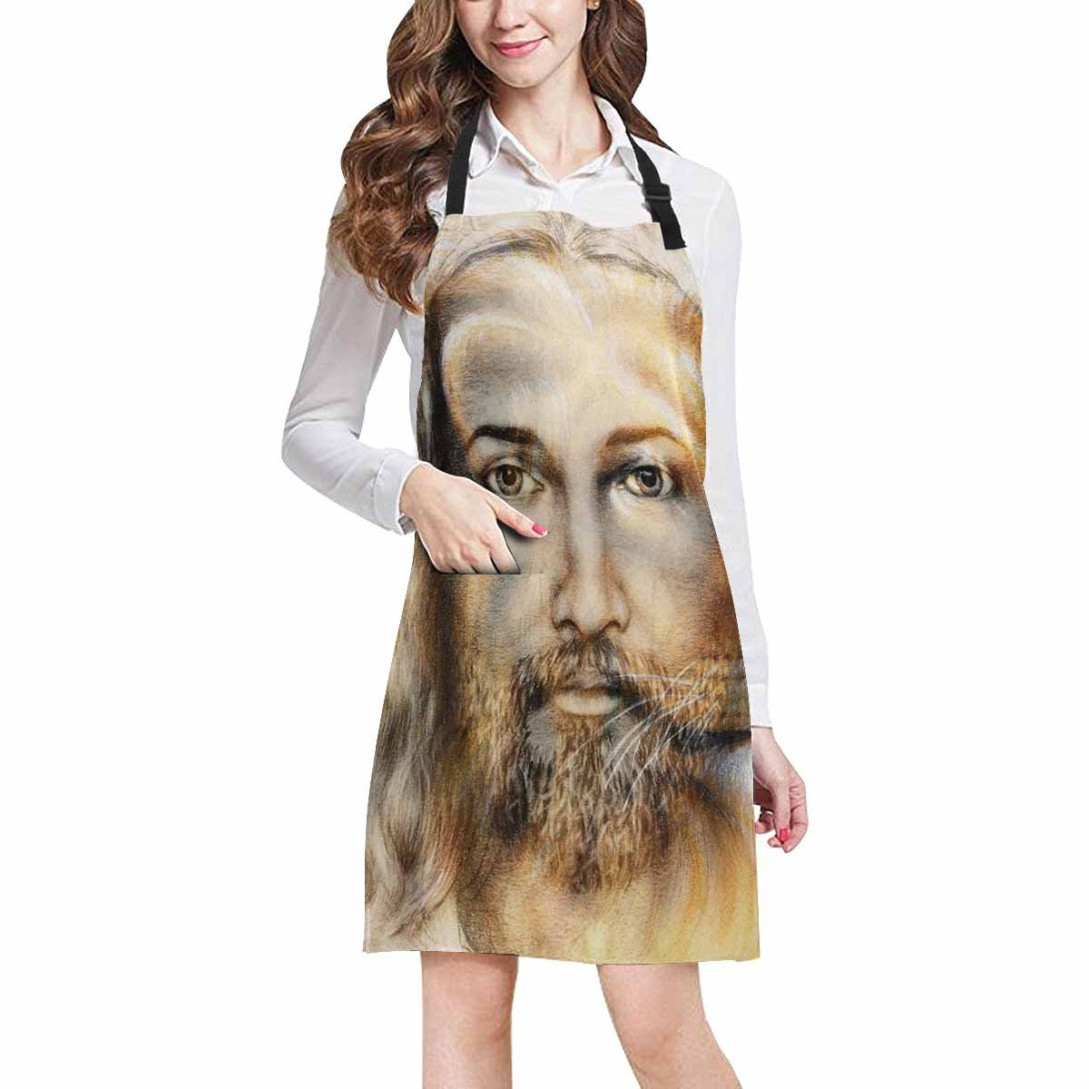InterestPrint Abstract Blessed Jesus with Lion Home Kitchen Apron for Women Men with Pockets, Unisex Adjustable Bib Apron for Cooking Baking Gardening, Large Size