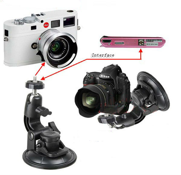 "90mm Sucker 360degree Rotating Car DVR Digital Camera Mini Recorder Window Windshield Suction Cup Mount with 1/4""-20 Screw Head"