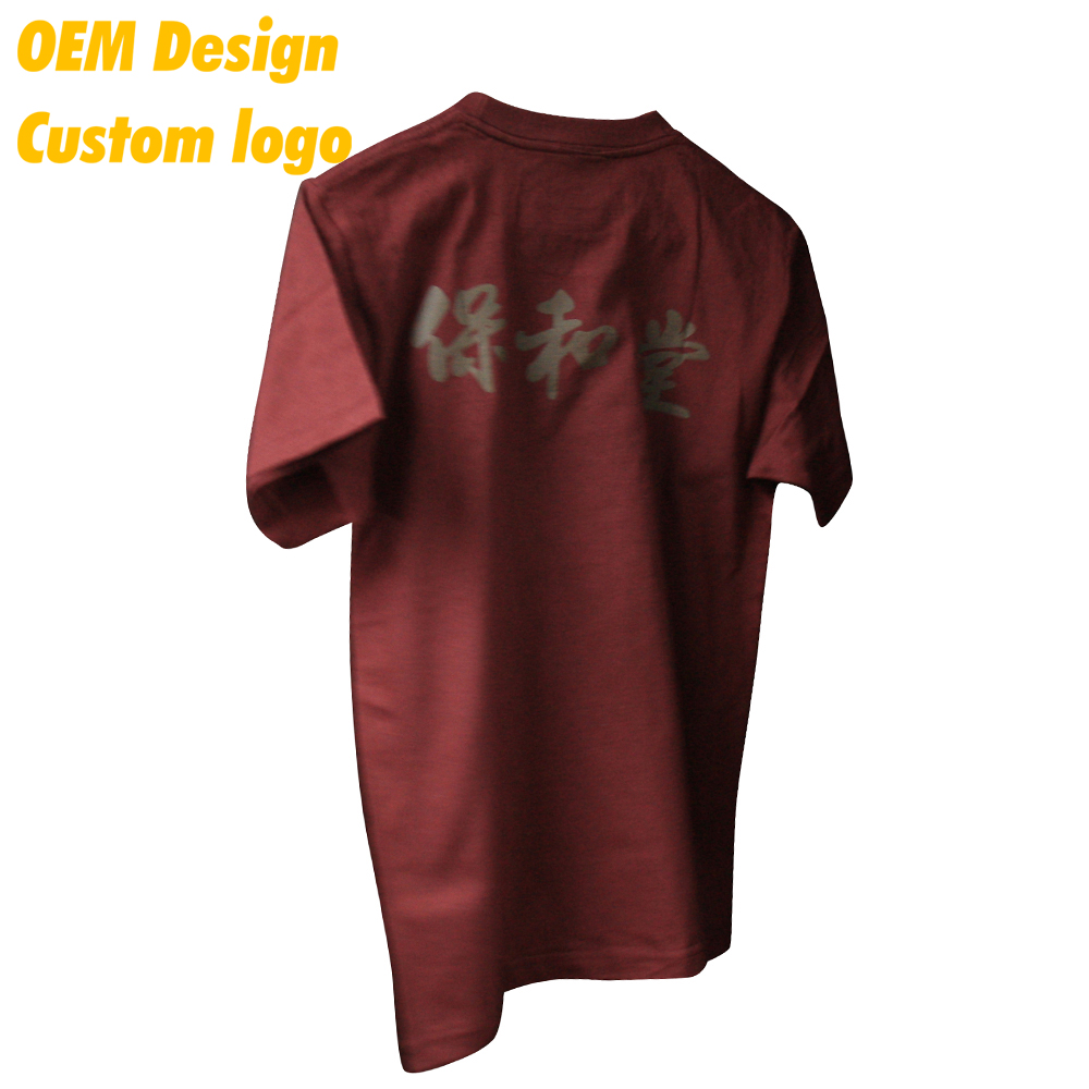 Custom Logo Brand name cotton polyester Ink print US size Hem Tag Maroon Outdoor Men Tee for girl
