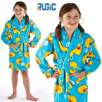 Children Girls Kids Dressing Gown Fleece Robe Animals Duck Hearts ...