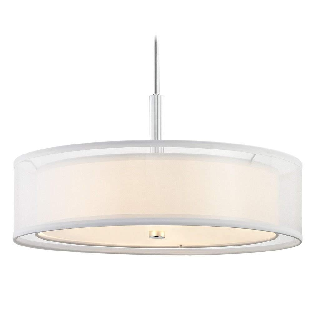Get Quotations Pendant Light White Drum Shade Chrome