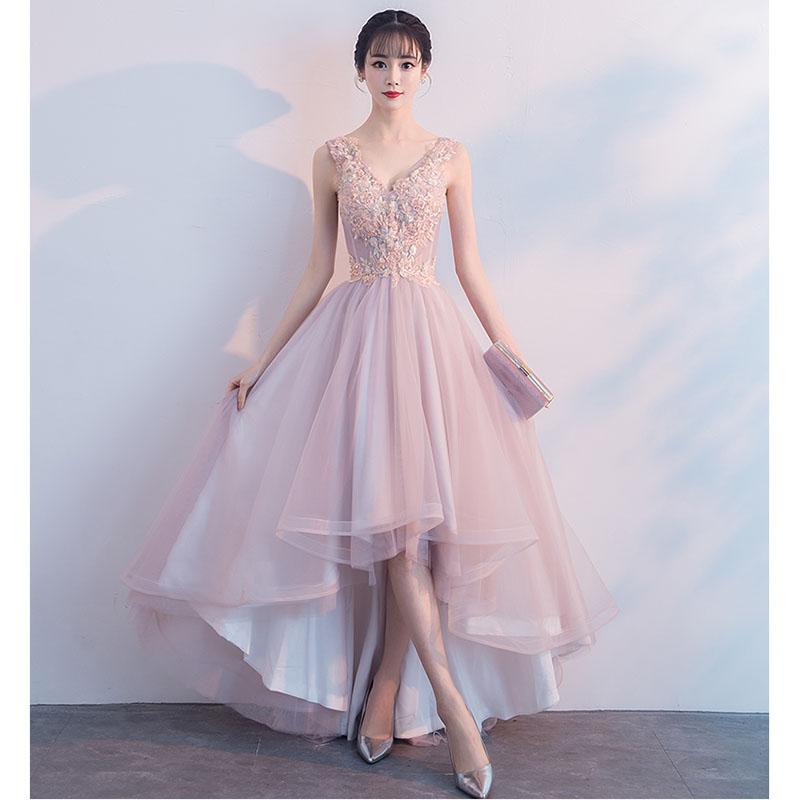317c88c89 2019 Beleza Coréia V Neck Frente Curta Tempo de Volta vestido de Baile  vestido de Festa