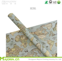 Wholesale Map Pattern Printing Gift Rolling Paper Wrap