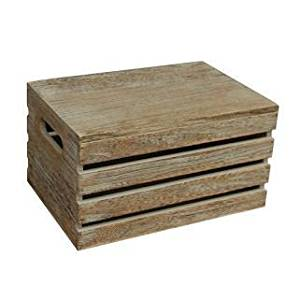 Get Quotations · Large Oak Effect Wooden Lidded Storage Box