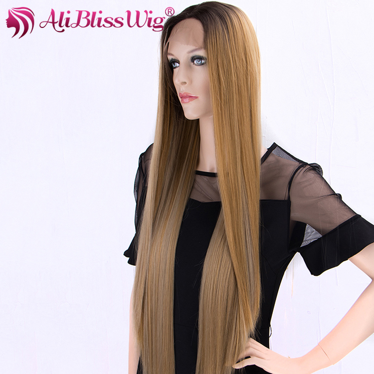 26 Lace Front Ombre Color Cosplay Wigs Brown Blonde Highlight Long