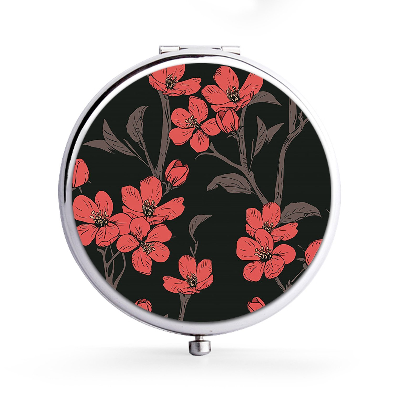 XIANN Mirror Makeup Mini Mirror Handhold Double Side Compact Travel Mirrors - Blooming Tree