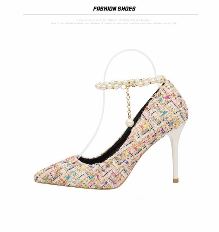 China factory stiletto <strong>heels</strong> pointed toe fabric upper material rubber outsole one word belt 9 cm women high <strong>heel</strong> shoes.