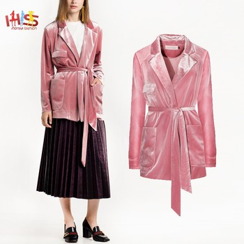 drop shipping popular stores cheap prices Pink Velvet Robe Blazer Suits Women With Belt And Front Pockets Hsb7976 -  Buy Blazer,Blazers Suits Women,Women Blazer Product on Alibaba.com