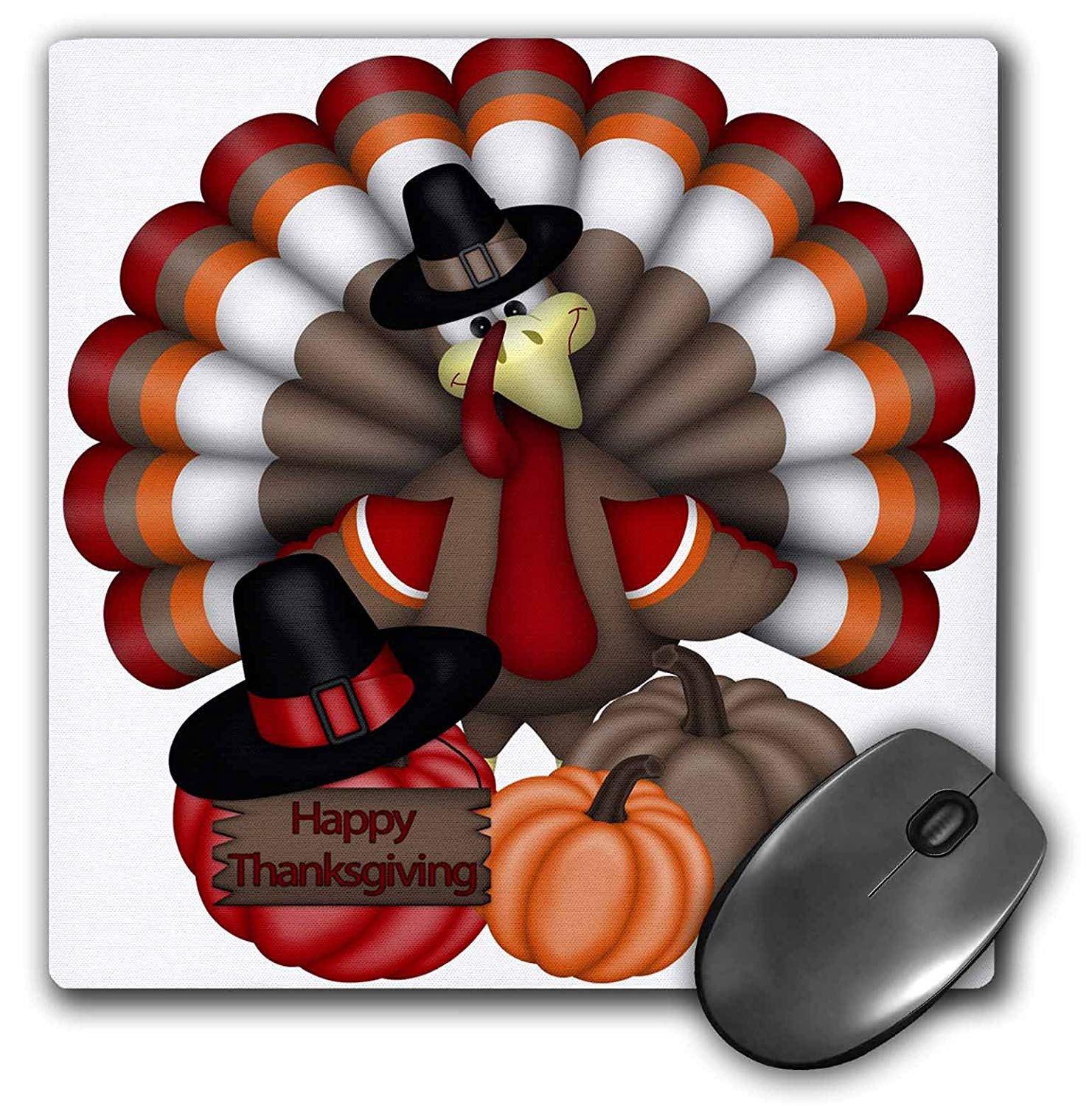 "3dRose Cute Red, Orange, Brown Turkey with Happy Thanksgiving Mouse Pad, 8"" x 8"" (mp_216920_1)"