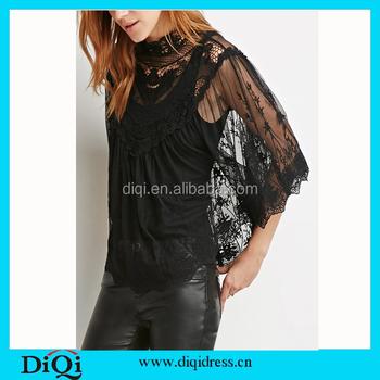 13fd2e4668c Autumn Blouse Fashion Crochet Lace Tops Long Sleeve Shirt Women Lace Blouse  Black Plus Size