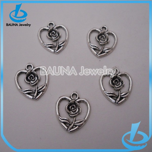 Antique silver flower in heart charms bulk