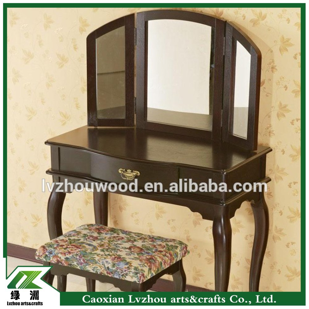 Solid Wood Antique Dressing Table With Mirror And Stool Antique
