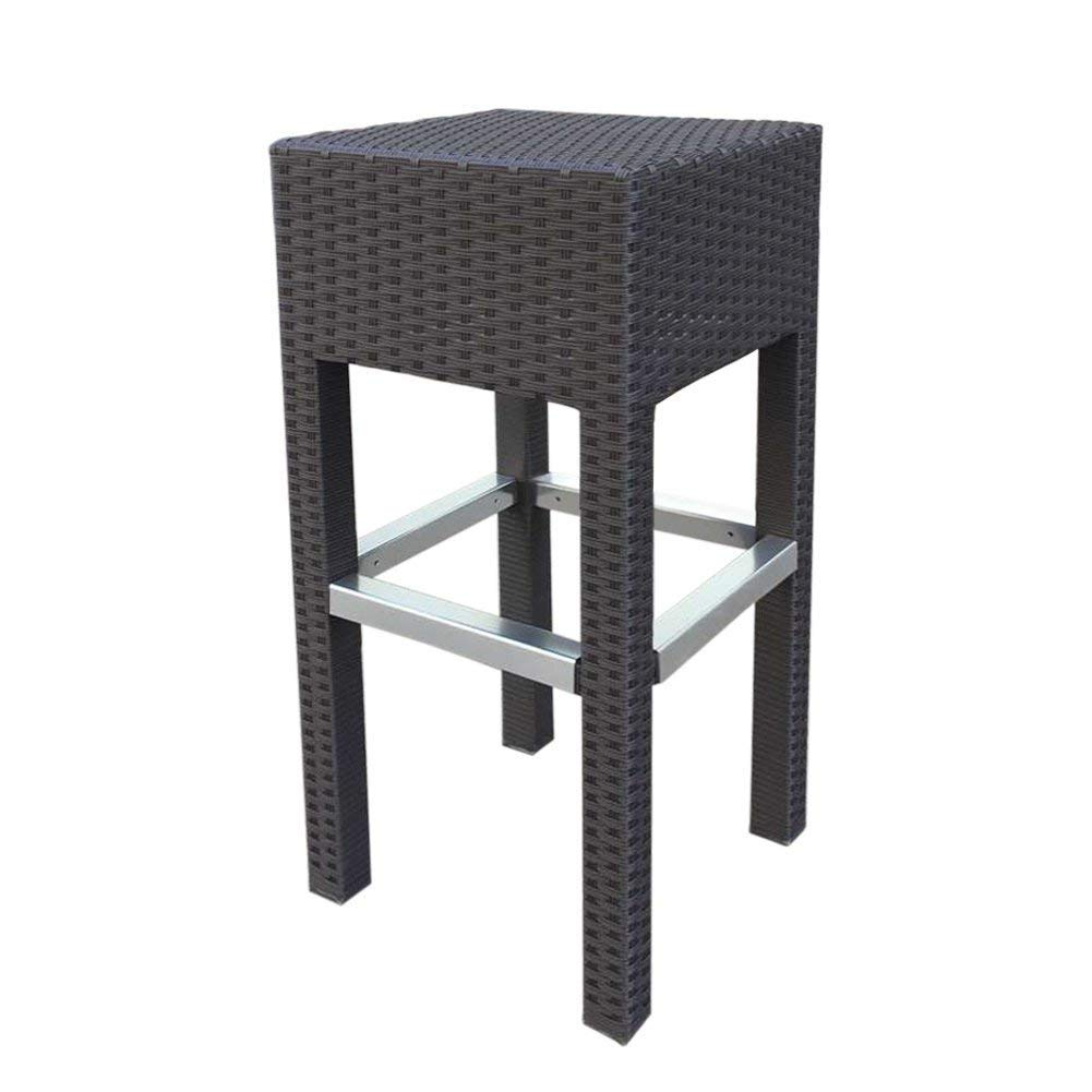Patio Outdoor Wicker Barstool Patio Furniture Bar Stool, Made From Durable Fully Weatherproof Fade-Resistant PE Rattan, Perfect for Indoor and Outdoor, Aluminum Frame Ensures Sturdiness and Durability
