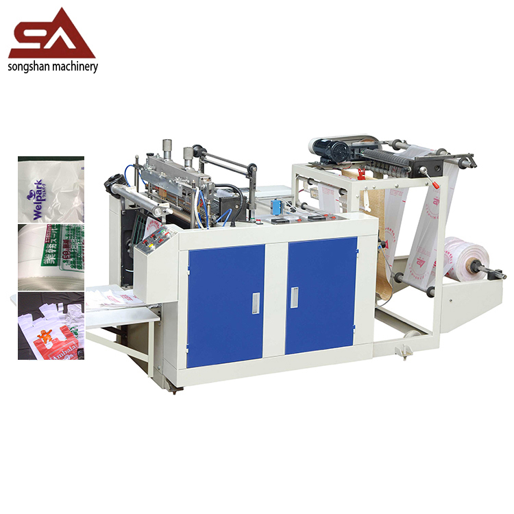 Single line hot cutting bag making machine for plastic garbage bags