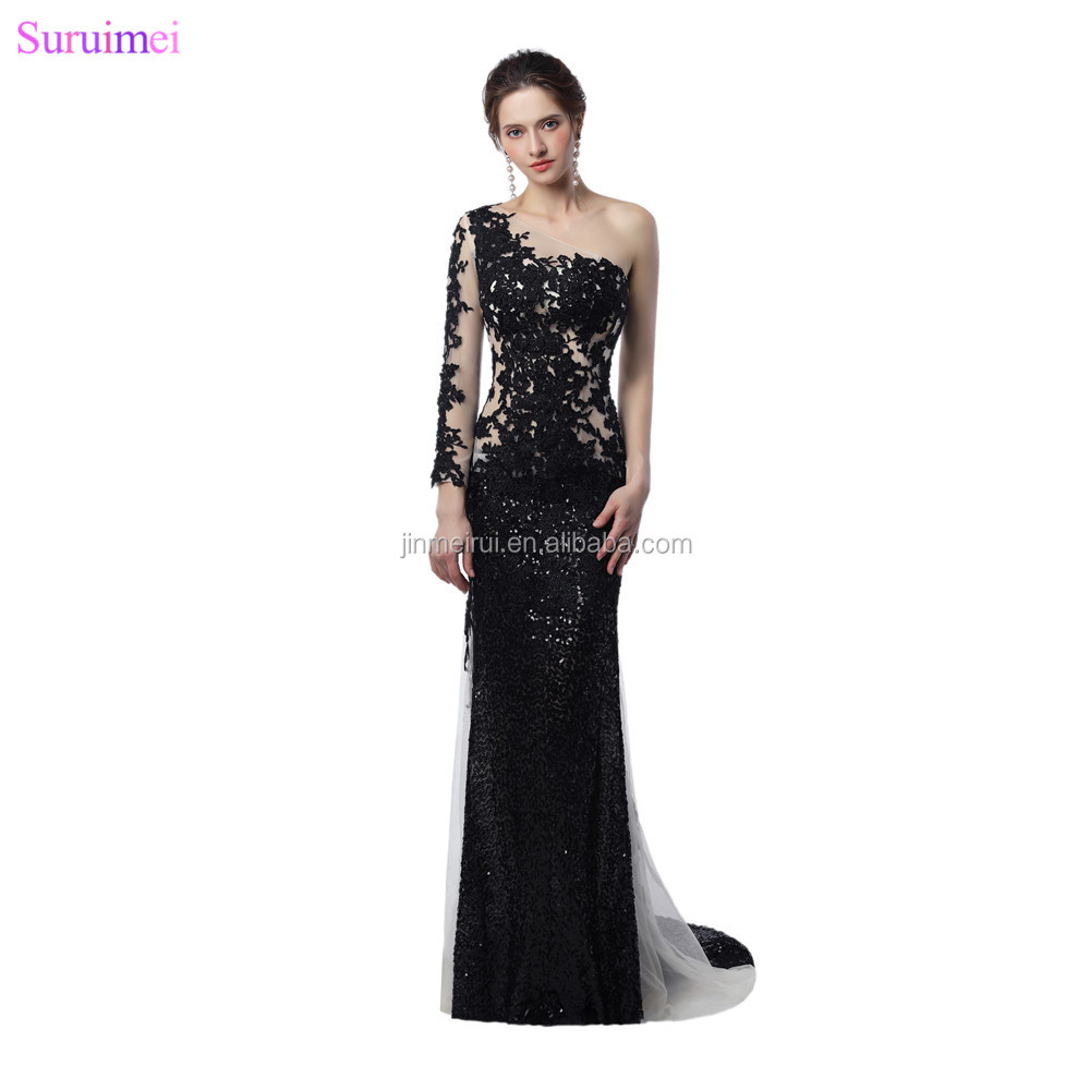 Unique Design Sheer Illusion Long Mermaid Evening Dresses White And Black Sequines Applique Long Sleeves Celebrity Evening Dress