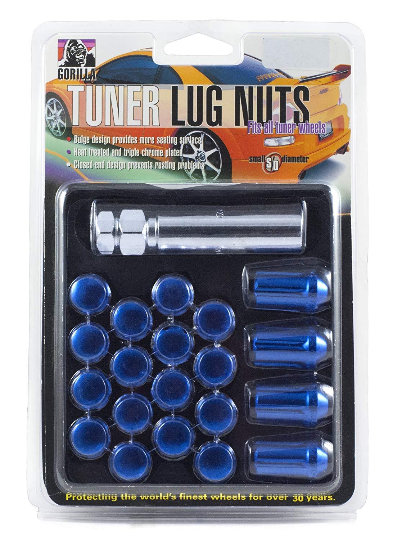 Gorilla Automotive 42123BL Blue 12mm x 1.25 Thread Size Aluminum Small Diameter 5-Lug Kit, (Pack of 20)