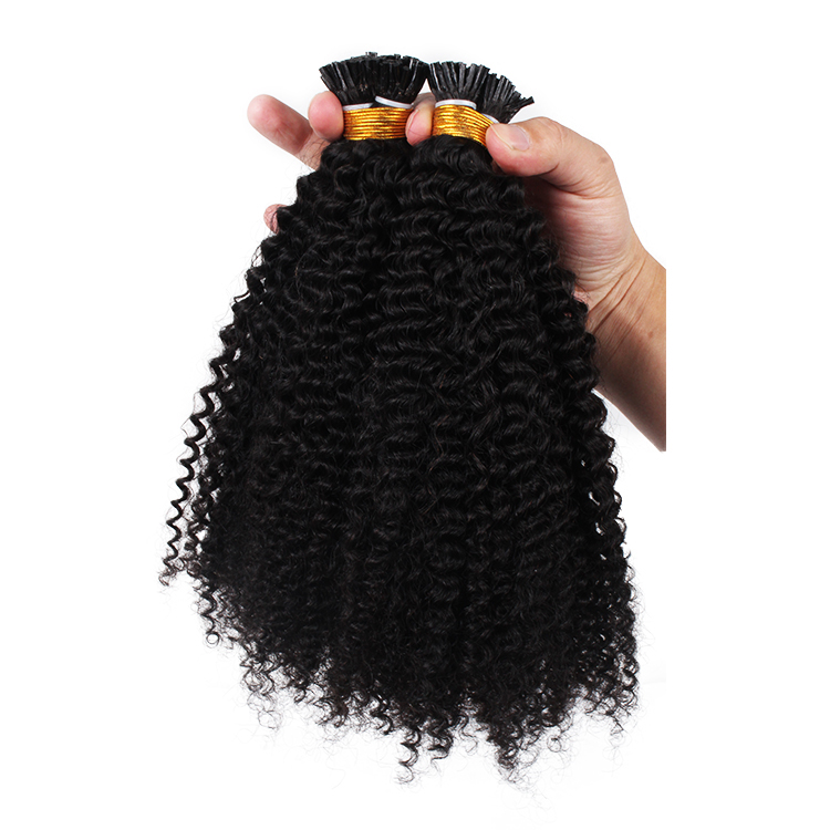 Fashion style afro kinky curly Keratin itip human hair extensions 0.5g 1g/strand for black women