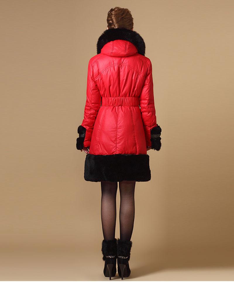 Пуховик длинная, большой настоящее естественная лисий мех зима куртка пальто женщины приталенный толстый белый гусь куртки верхняя одежда 2205