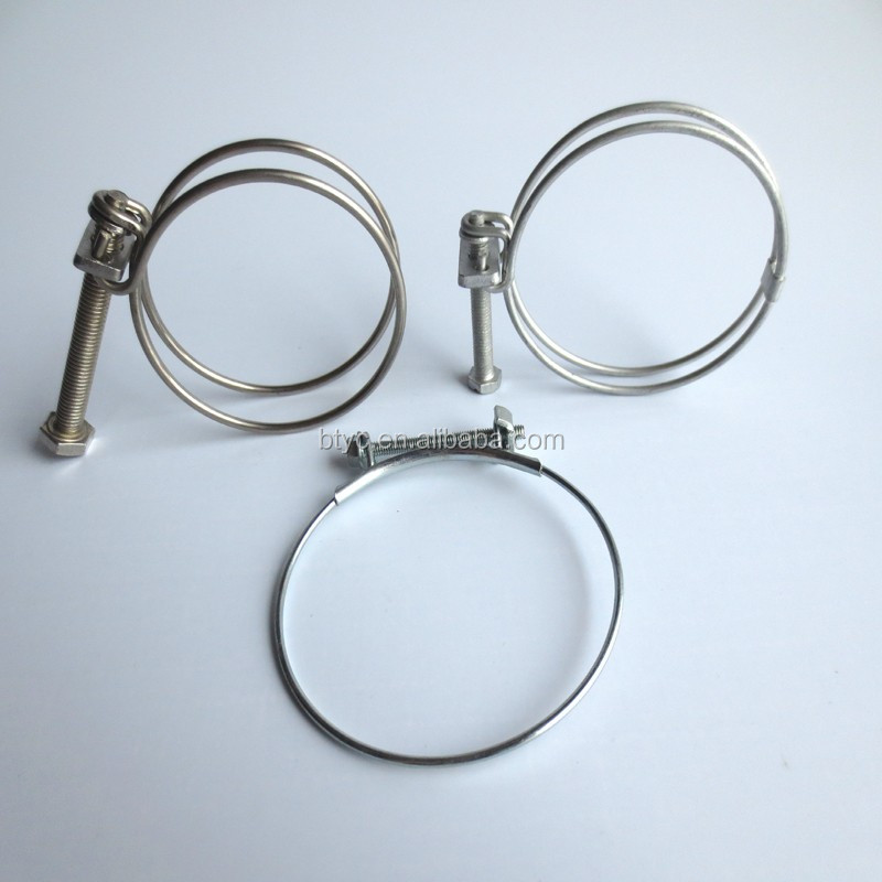 304SS Full Stainless Steel Turbo <strong>Exhaust</strong> system pipe Double Wire Hose Clamp heavy duty fuel pipe Clip Clamping for auto parts
