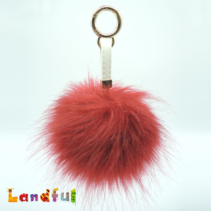 Girl's Fashion Faux Red Fox Fur Pom Poms Pendaut Decoration Party Ball Wholesale Fake Furry Ball Keychain