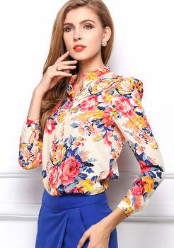 429975088ceea1 2015 tops ladies print tops floral print shirts woman chiffon fashion woman  female blouse