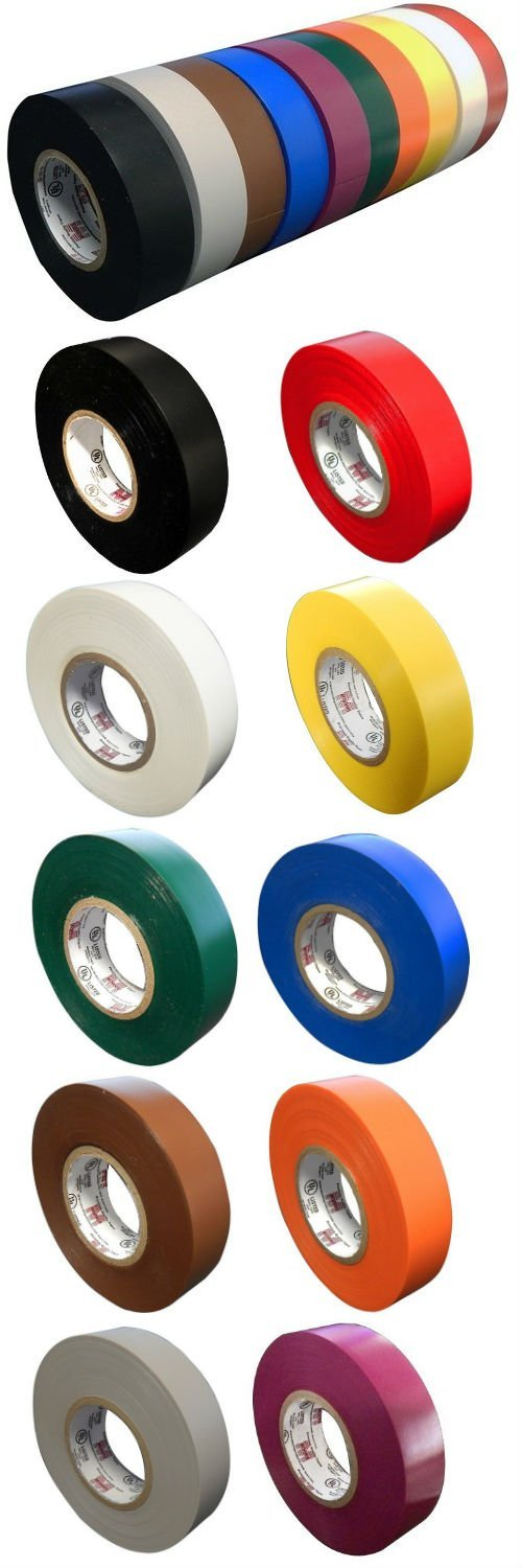 "10 Pack: Colored Electrical Tape by Morris Products 10 Colors Electric Tape each 3/4"" x 60ft x 7mil Comparable to 3M 1700 & 1400 Black, Red, White, Yellow, Green, Blue & More Over $50 Value"