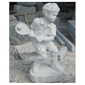 Child Stone Carvings and Sculptures--Tennis boy