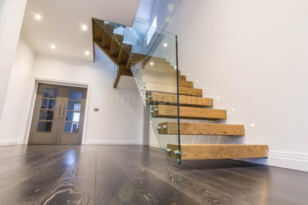 Customized floating staircase cost spaces/ laminate glass stairs system ...
