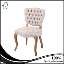 Antique european style solid oak wood chair vintage button tufted fabric upholstered dining chair