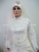 MUSLIMA WEDDING DRESS -WITH FREE HIJAB AND VEIL