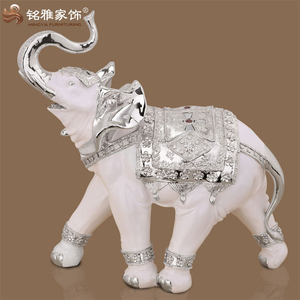 Good willing business gifts christmas hotel polyresin white and rose gold/silver trunk up religious thailand elephant statues